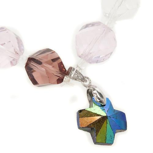 Bracciale cristallo grani e croce 2