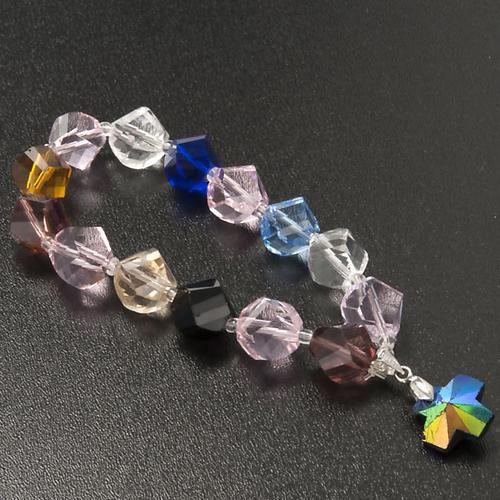 Bracciale cristallo grani e croce 5