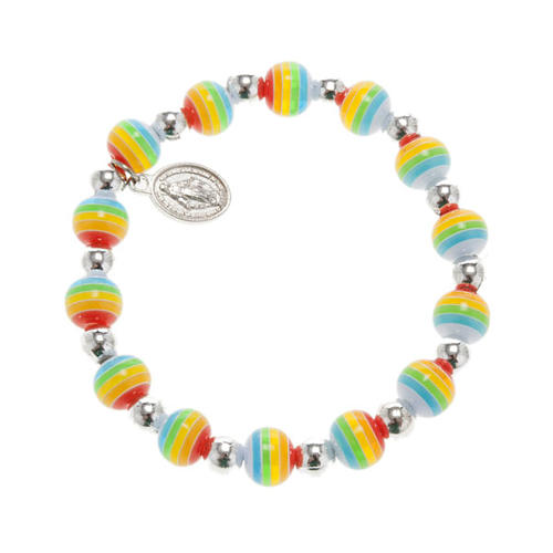Bracelet, peace colours with Miraculous Medal 1