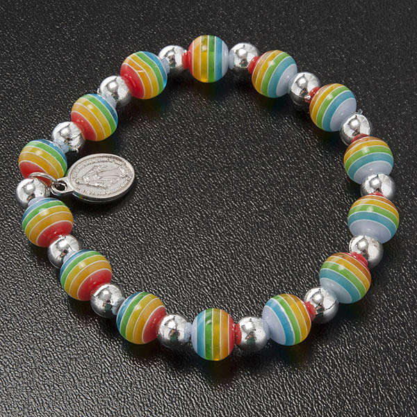 Bracelet, peace colours with Miraculous Medal 4
