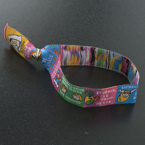 Child Prayer bracelet in fabric, Hail Mary FRA 6