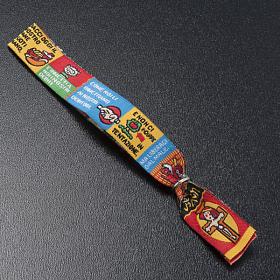Bracelet religieux en tissu avec marque page Notre Père ITA s4