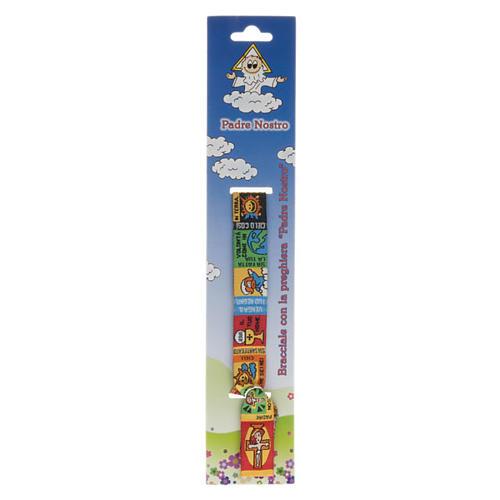 Bracelet religieux en tissu avec marque page Notre Père ITA 1