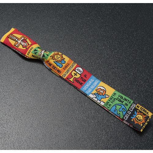 Bracelet religieux en tissu avec marque page Notre Père ITA 3