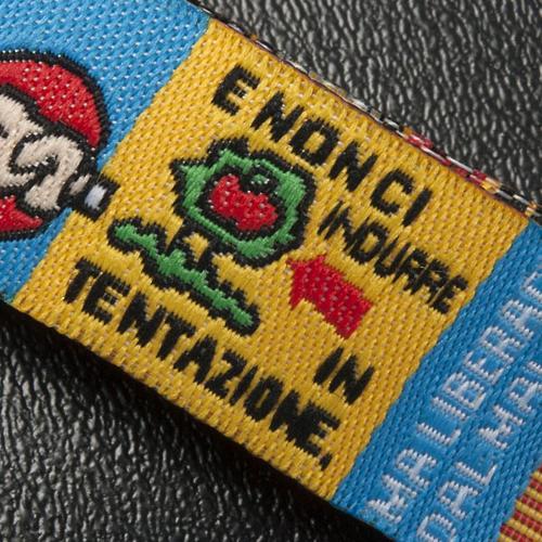 Bracelet religieux en tissu avec marque page Notre Père ITA 5