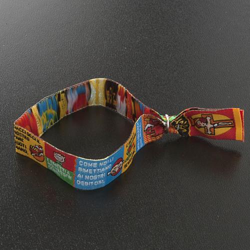 Bracelet religieux en tissu avec marque page Notre Père ITA 6