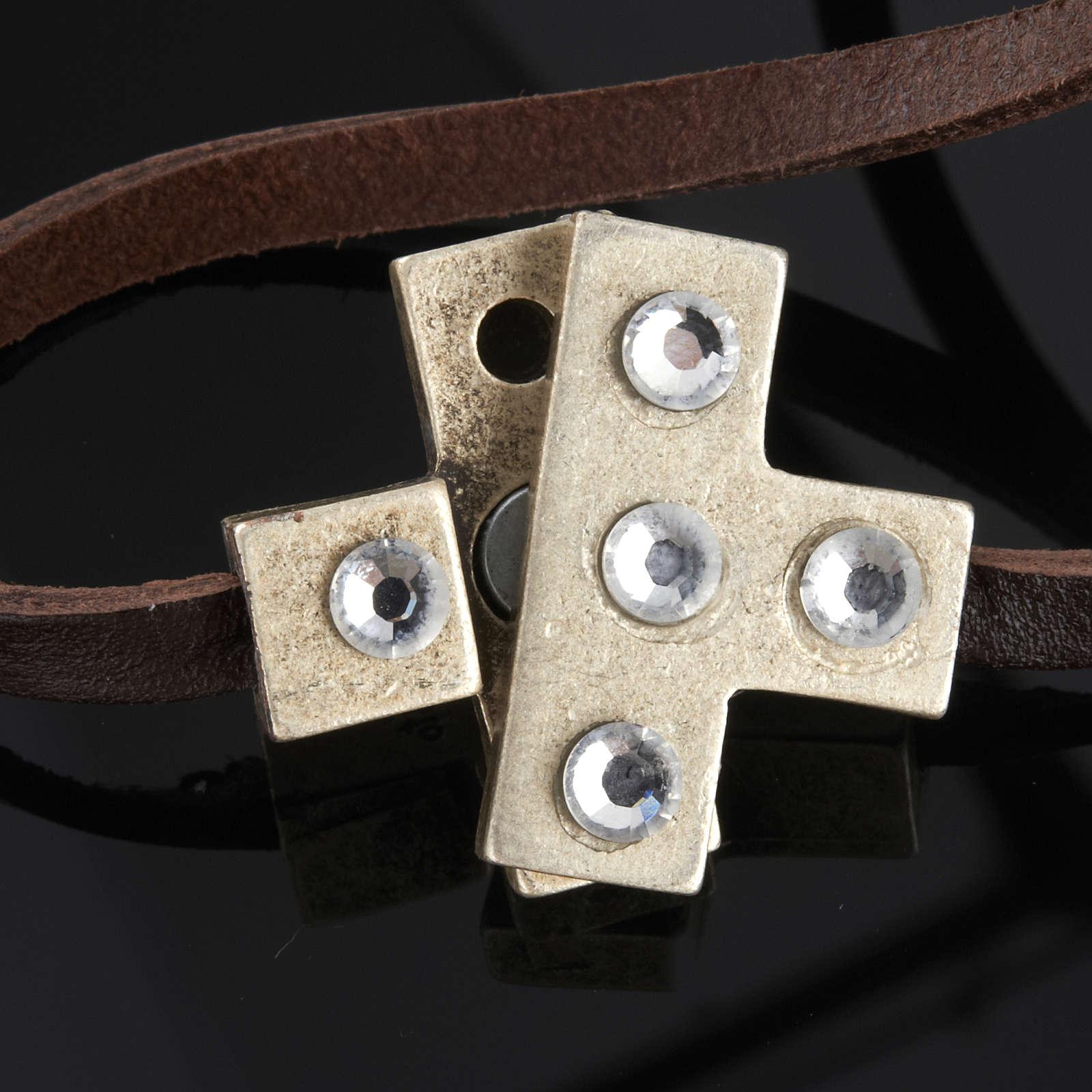 Bracciale croce Swarovski e pelle lung. 34 cm 4