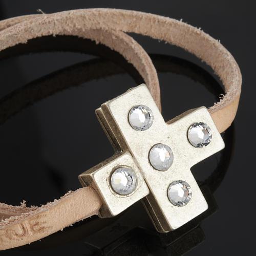 STOCK Bracciale croce Swarovski e pelle lung. 34 cm 4