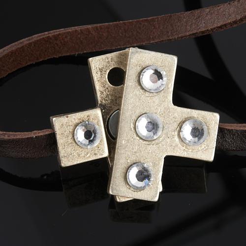 Bracciale croce Swarovski e pelle lung. 34 cm 9