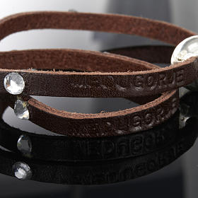 Bracciale Swarovski e pelle scritta Medjugorje lung. 34 cm s6