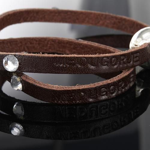 Bracciale Swarovski e pelle scritta Medjugorje lung. 34 cm 6