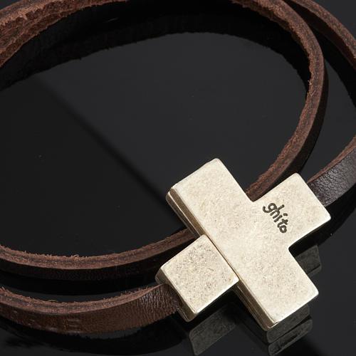 Bracelet cuir Medjugorje et croix zama long. 39 cm 5