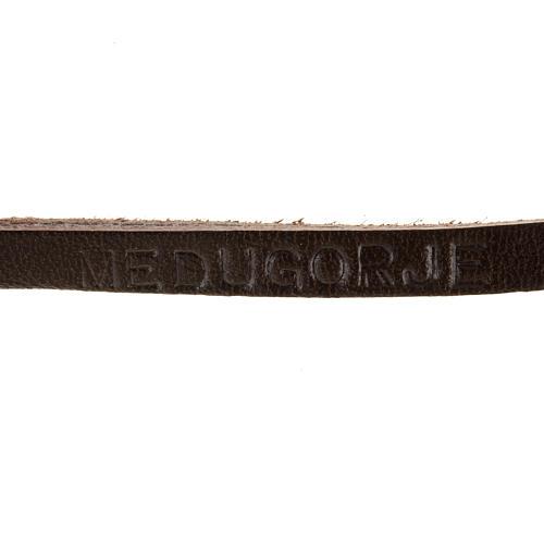 Bracelet cuir Medjugorje et croix zama long. 39 cm 6