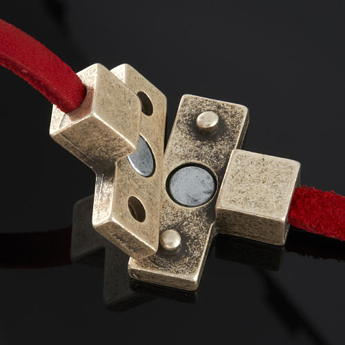 Bracelet cuir Medjugorje et croix zama long. 39 cm 7