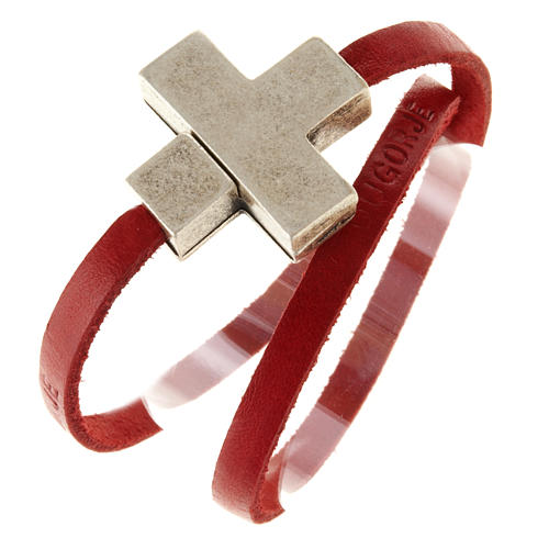 Bracelet cuir Medjugorje et croix zama long. 39 cm 8