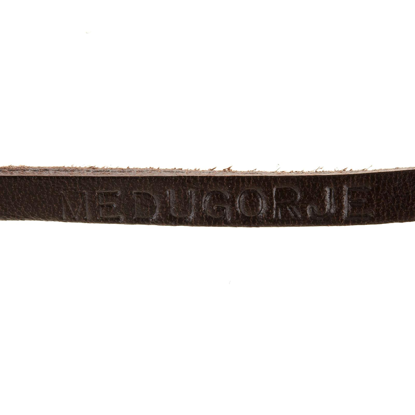 Bracciale pelle Medjugorje e croce zama lung. 39 cm 4