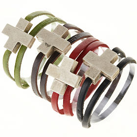 Religious bracelet in leather with zamak cross lenght 39 cm s1