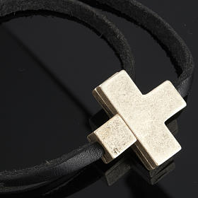 Religious bracelet in leather with zamak cross lenght 39 cm s3