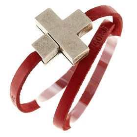 Religious bracelet in leather with zamak cross lenght 39 cm s8
