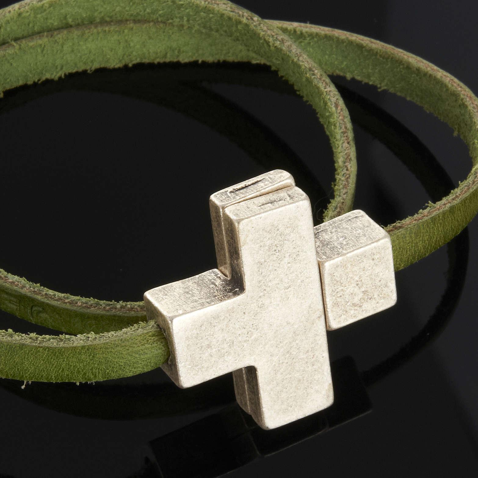 Bracelet en cuir Medjugorje croix long. 34 cm 4