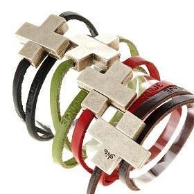 Bracelet en cuir Medjugorje croix long. 34 cm s1