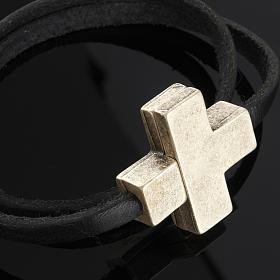 Bracelet en cuir Medjugorje croix long. 34 cm s4