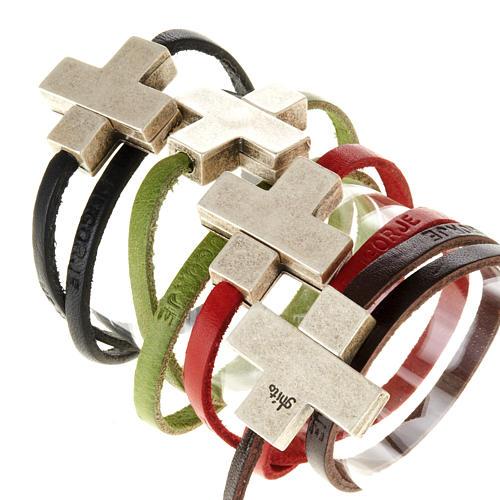 Bracelet en cuir Medjugorje croix long. 34 cm 1
