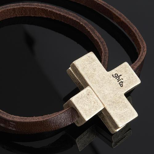 Bracelet en cuir Medjugorje croix long. 34 cm 2