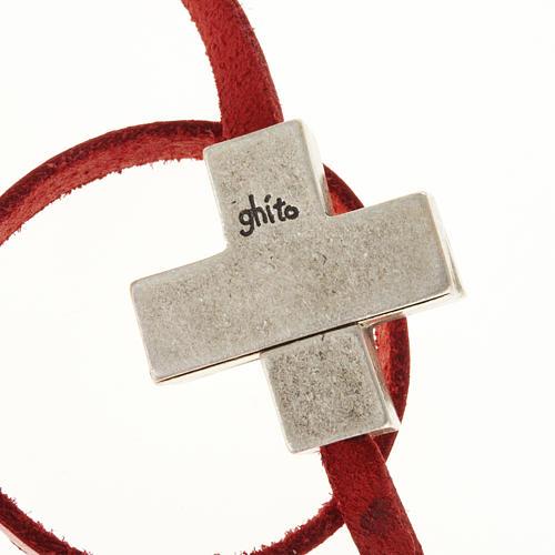 Bracelet en cuir Medjugorje croix long. 34 cm 6