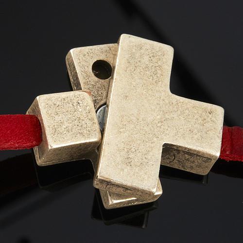 Pulseira couro Medjugorje e cruz zamak compr. 34 cm 7
