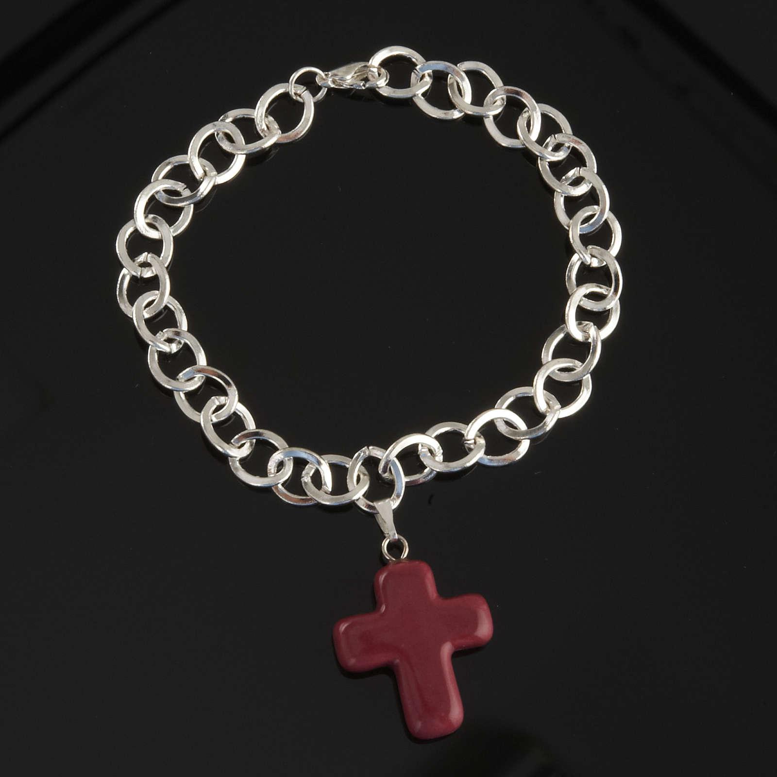 Bracelet in metal with ceramic cross 4
