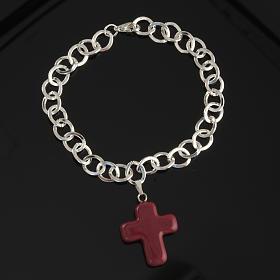 Bracelet in metal with ceramic cross s2
