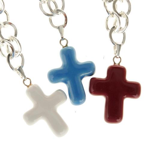 Bracelet in metal with ceramic cross 1