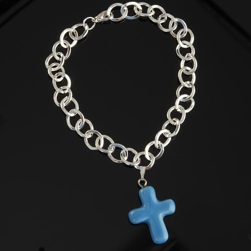 Bracelet in metal with ceramic cross 3