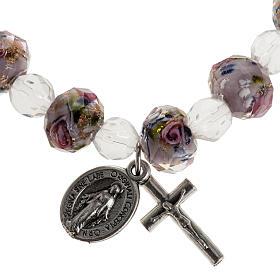 Elastic bracelet with pink crystal, 7mm s1
