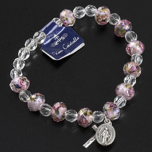 Elastic bracelet with pink crystal, 7mm 3