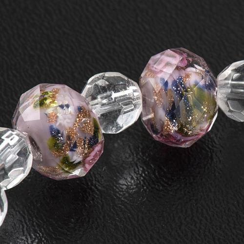 Pulsera elástica de cristal rosa 7mm 5