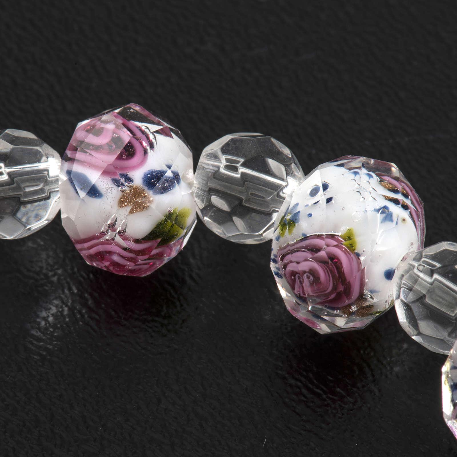 Bracciale elastico cristallo 7mm bianco rosa 4
