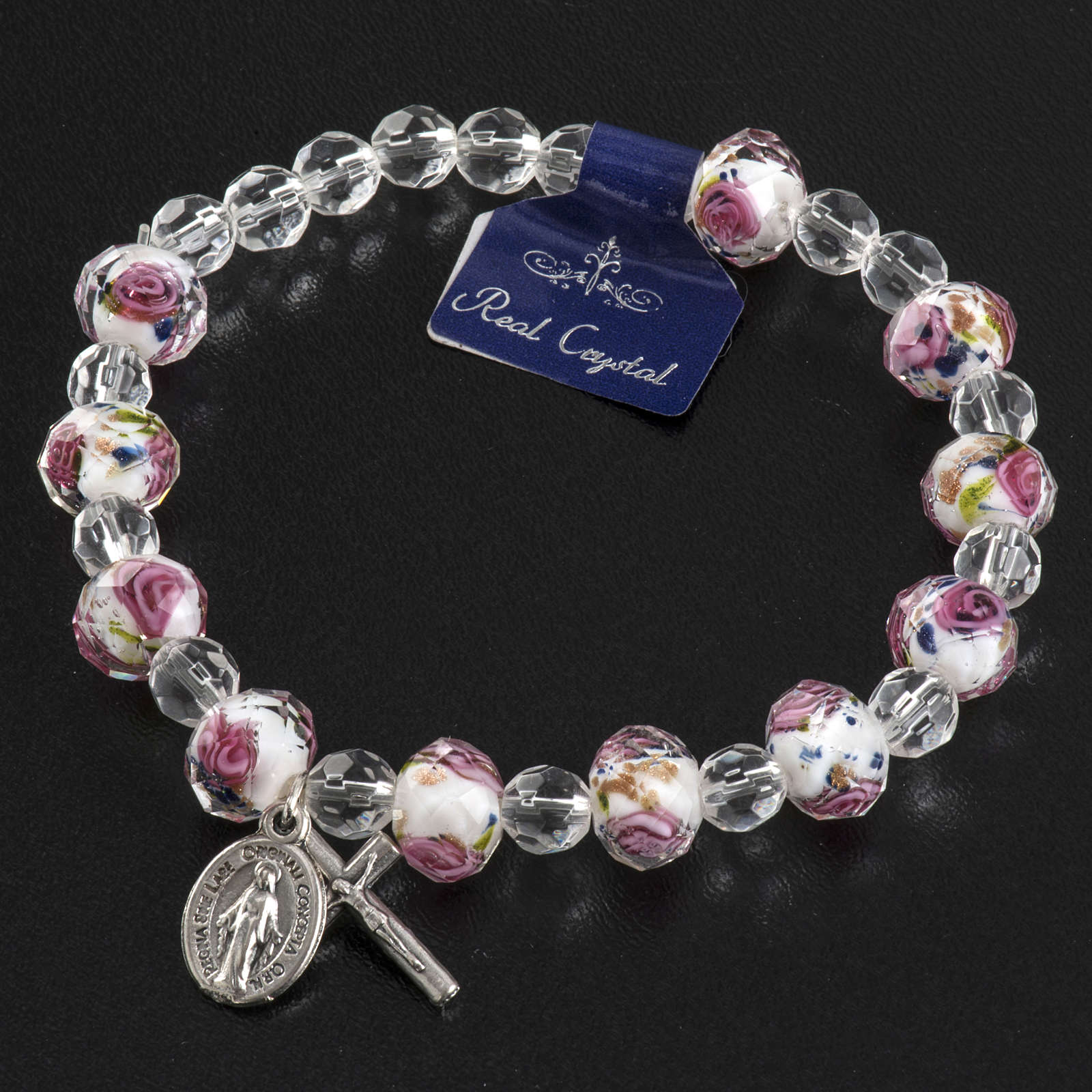 Elastic bracelet with pink and white crystals, 7mm 4
