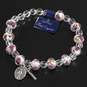 Elastic bracelet with pink and white crystals, 7mm s5