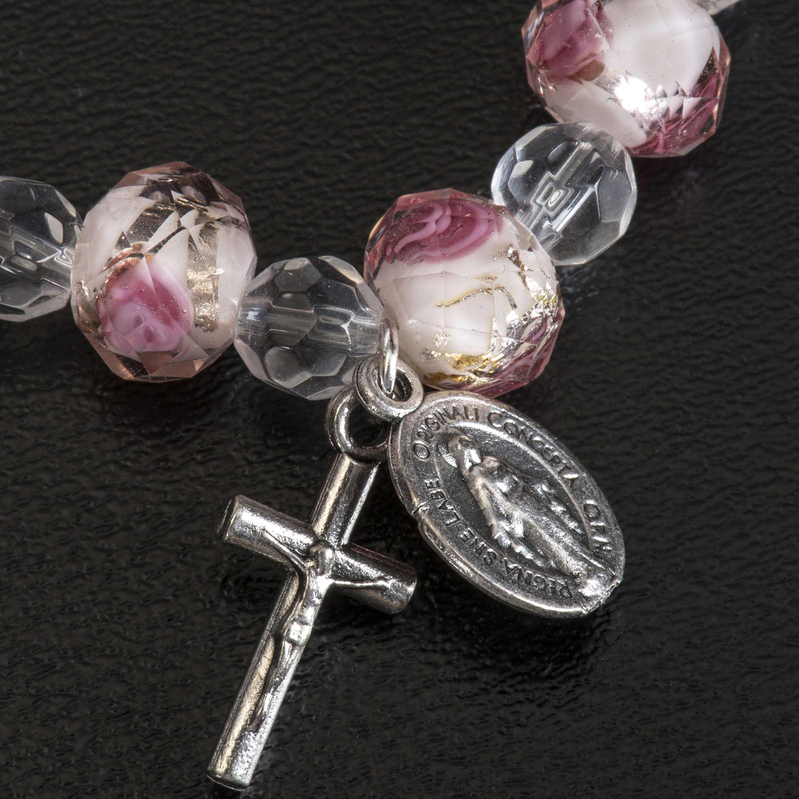 Pulsera elástica cristal 7mm blanco y rosado 4