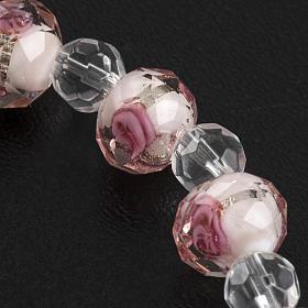 Pulsera elástica cristal 7mm blanco y rosado s8