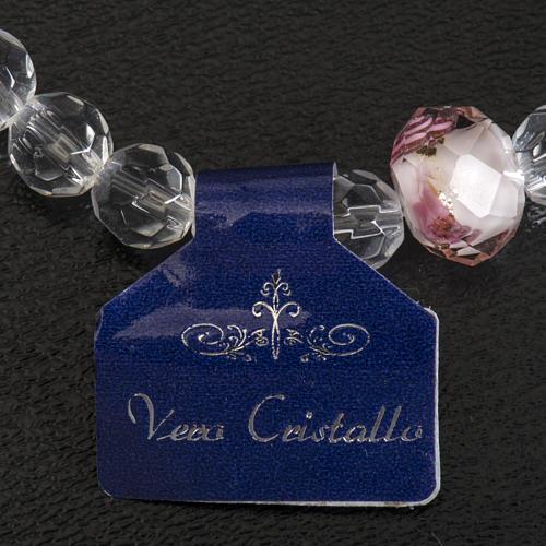 Pulsera elástica cristal 7mm blanco y rosado 7