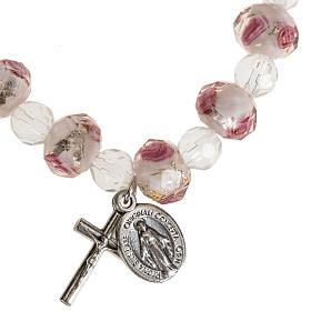 Bracelet religieux élastique cristal blanc et rose 7mm s1
