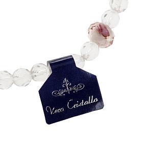 Bracelet religieux élastique cristal blanc et rose 7mm s3