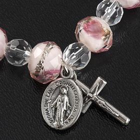 Bracelet religieux élastique cristal blanc et rose 7mm s5