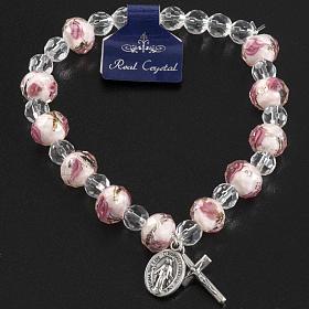 Bracelet religieux élastique cristal blanc et rose 7mm s9