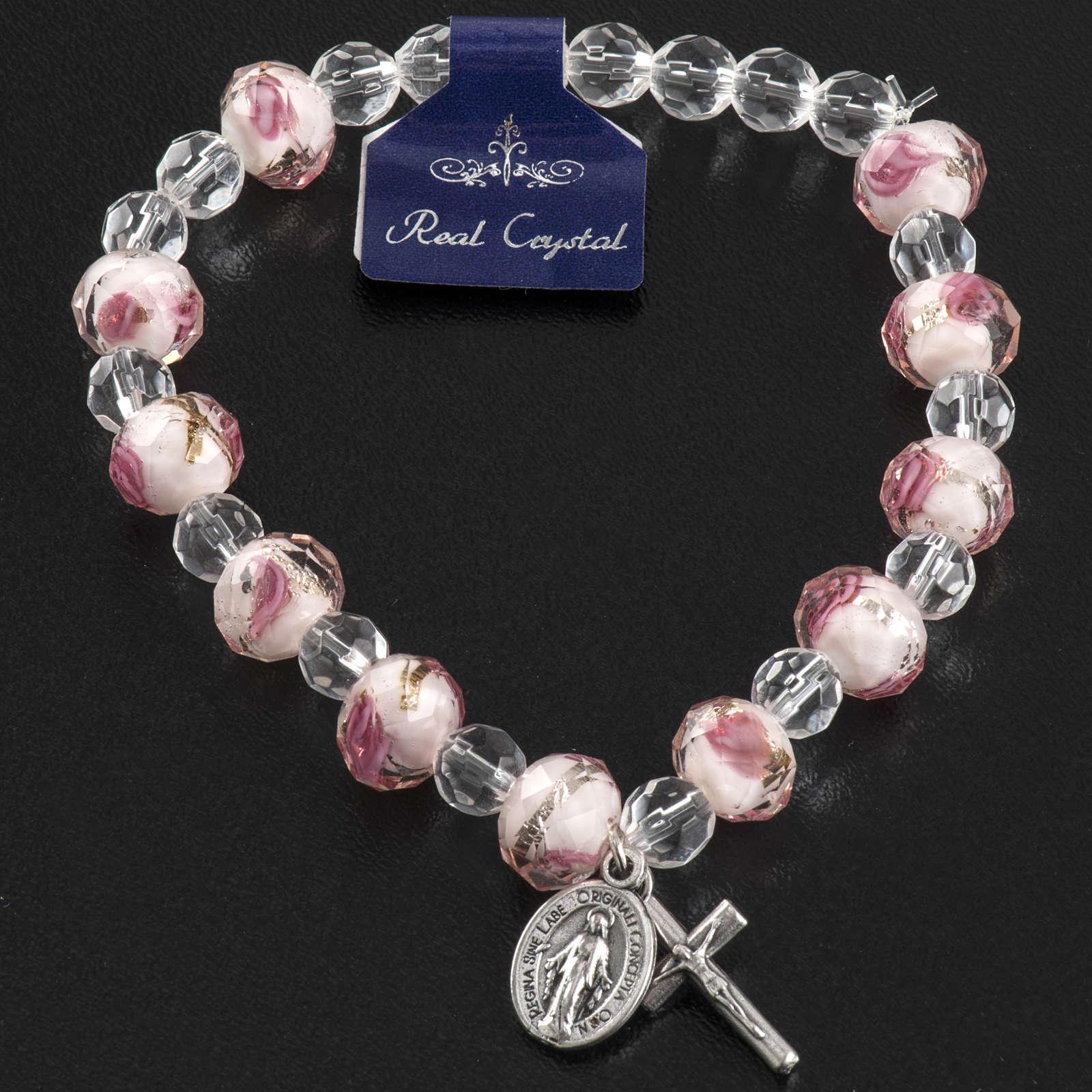 Bracciale elastico cristallo 7mm bianco e rosa 4