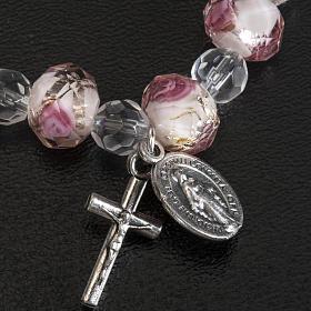 Bracciale elastico cristallo 7mm bianco e rosa s4