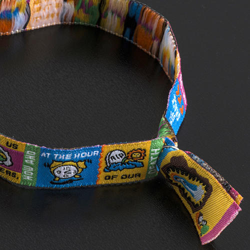 Prayer bracelet in fabric, Hail Mary ENG 6